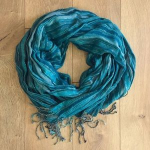 Turquoise & Silver Striped Scarf